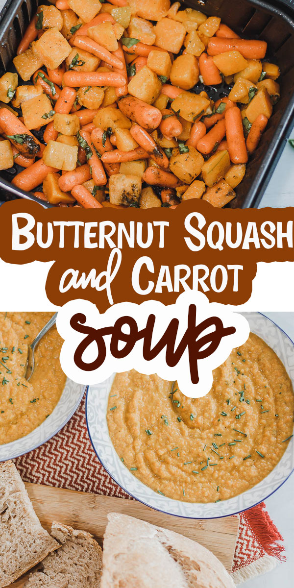 a delicious butternut squash and carrot soup recipe. This soup is easy to make and full of savory spices that make this squash soup hard to resist. a perfect bowl of fall flavor. via @lifesewsavory
