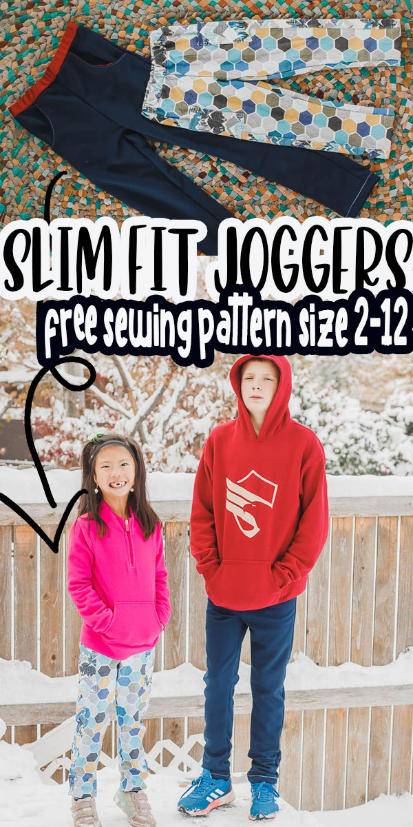 Free sewing pattern for slim fit athletic pants for kids. Sew up comfy sports pants with this easy sewing tutorial. Also includes pocket and side stripe hacks.