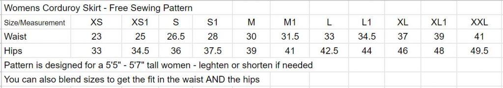 Womens skirt size chart