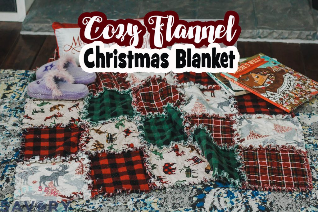 cozy Christmas fabric blanket made with flannel