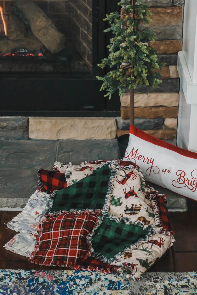 christmas frayed flannel quilt