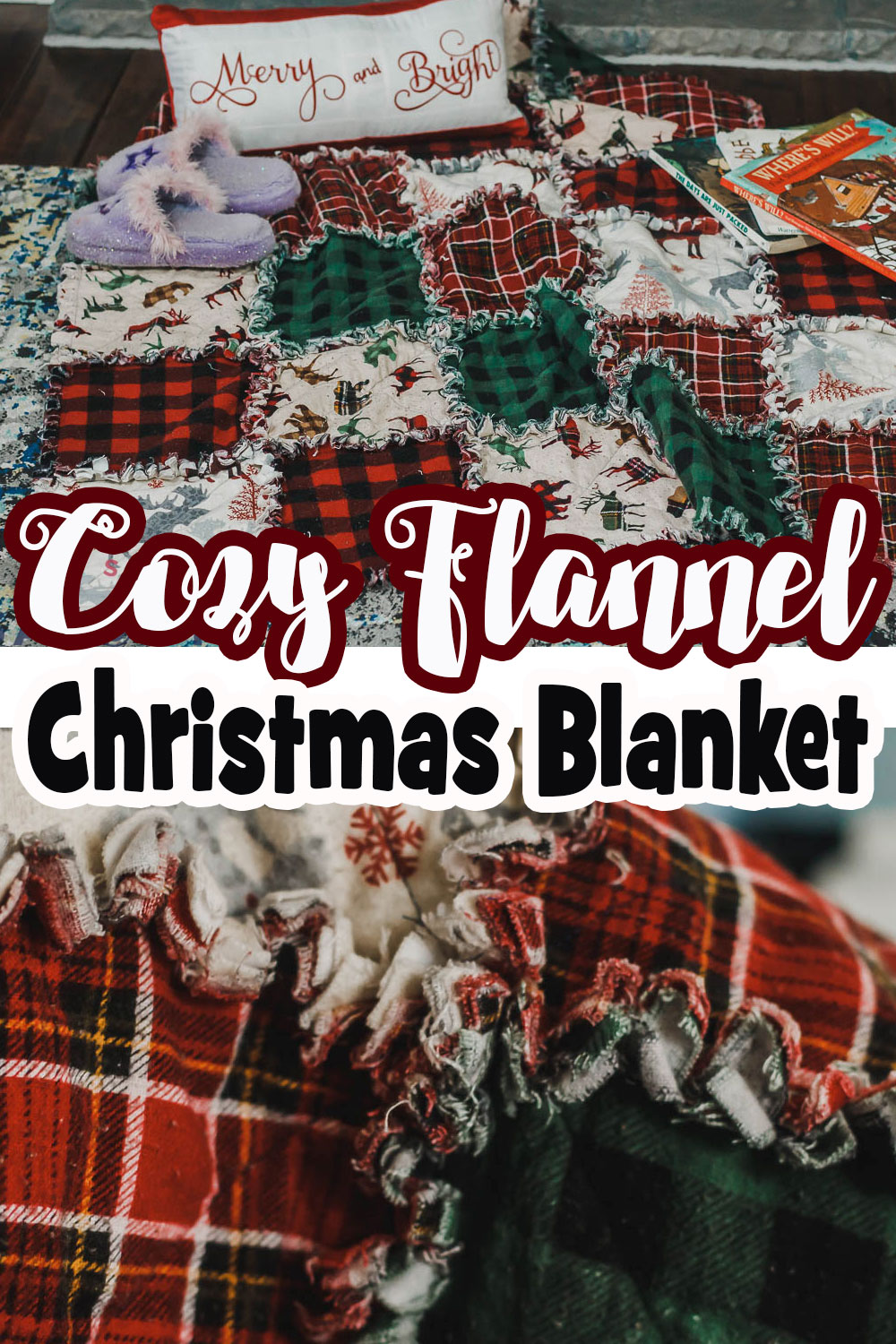 Sew a cozy Christmas fabric blanket from flannel and this easy tutorial. Simple quilting technique and fun frayed edges give this quilt a cozy and unique look.
