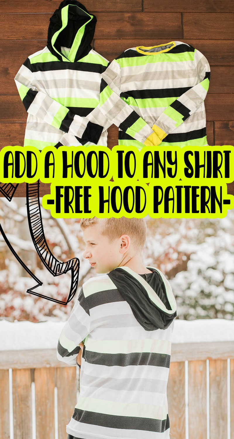 learn how to sew a hood with this sewing tutorial and free pattern. Sew a hood on any t-shirt pattern to add a fun design to any shirt. PLUS grab the free sewing pattern.