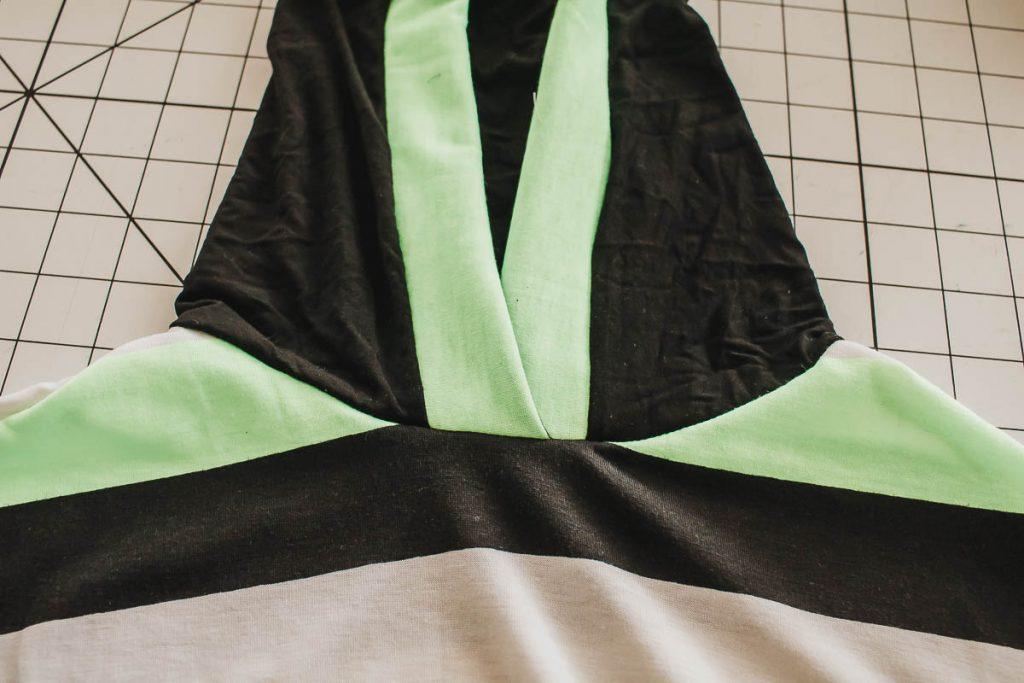 hood sewn on shirt