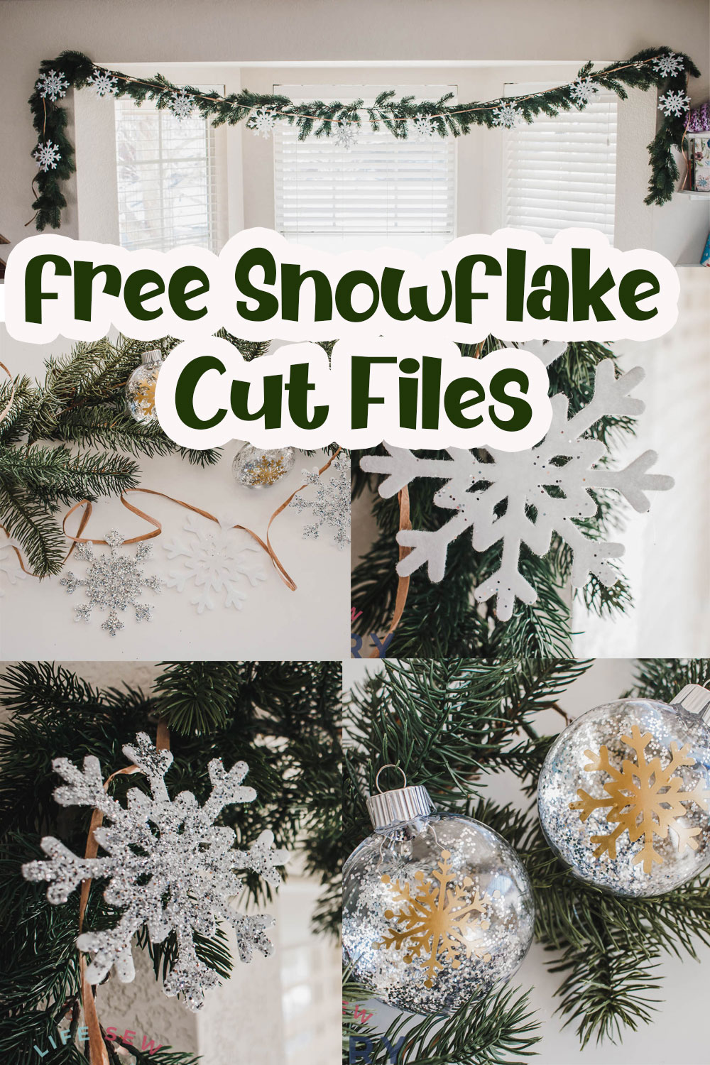 Make cute snowflake crafts with free svg files. Create wintry crafts with this huge list of free snowflake svg files. This post has a garland and ornament tutorial using snowflakes.