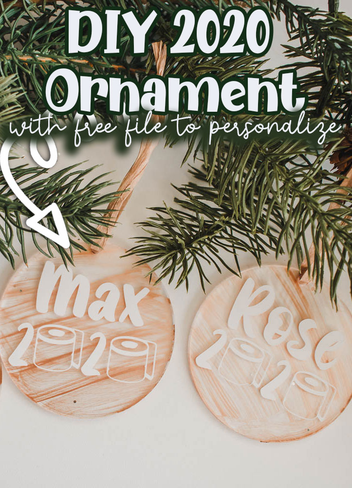 Craft a beautiful DIY Christmas Ornament with this free svg file and tutorial. Always remember 2020 with a personalized name ornament. Easy ornament to make.