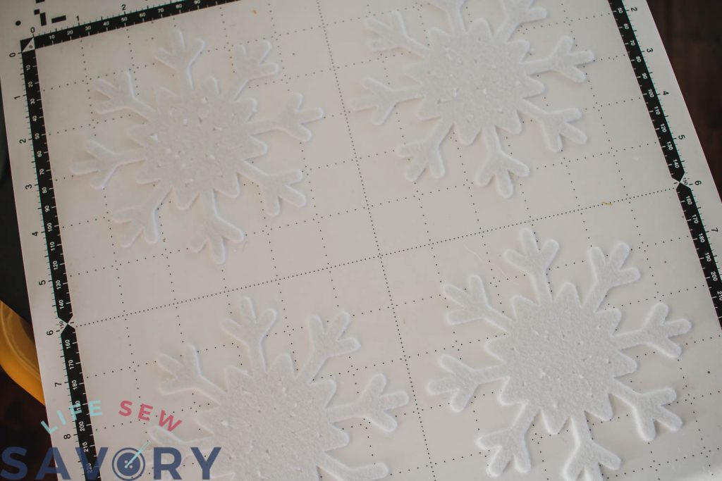 snowflakes on cutting mat