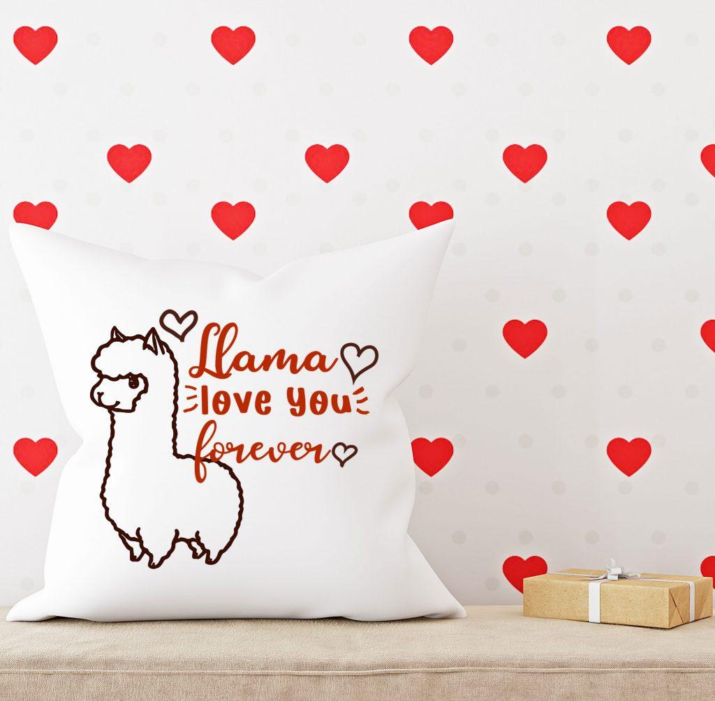 llama valentine pillow