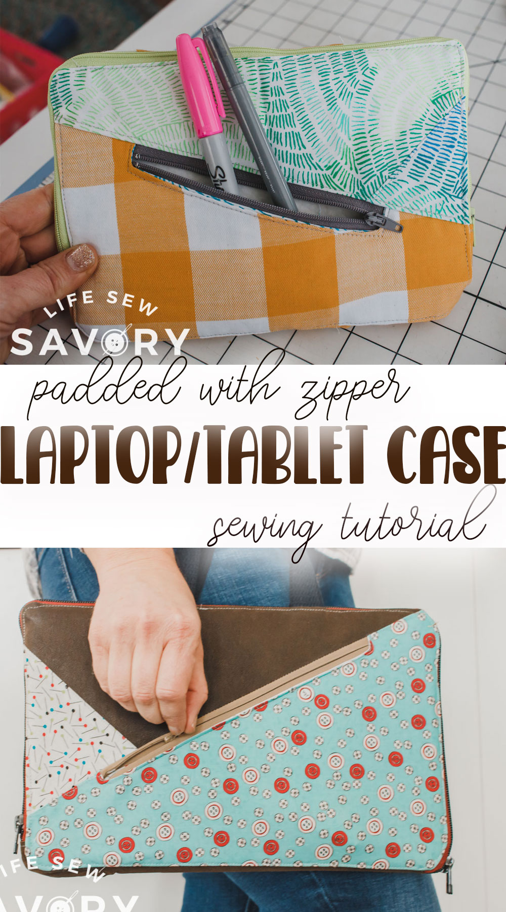 padded laptop case with zipper sewing tutorial