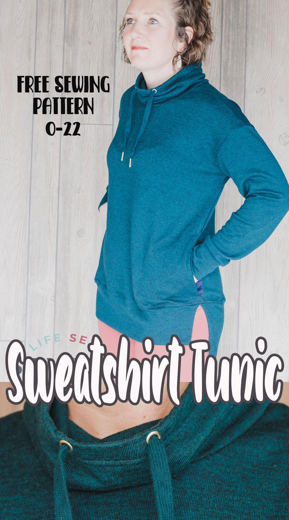 sweatshirt tunic free sewing pattern for women