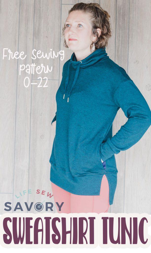 womens sweatshirt tunic free sewing pattern