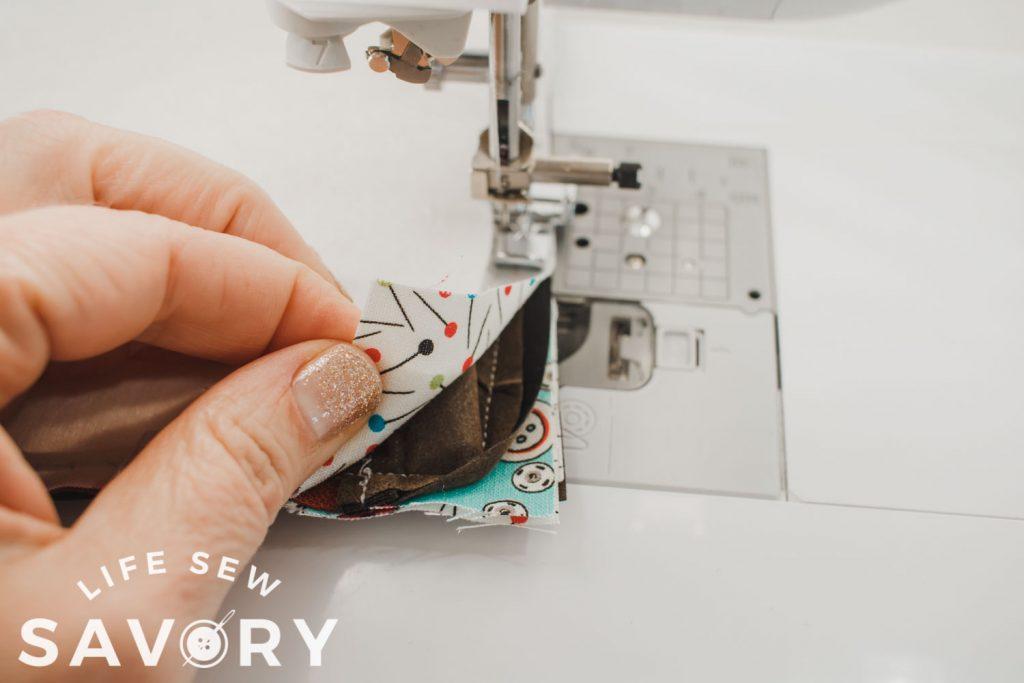 sew carefully and slowly around corners