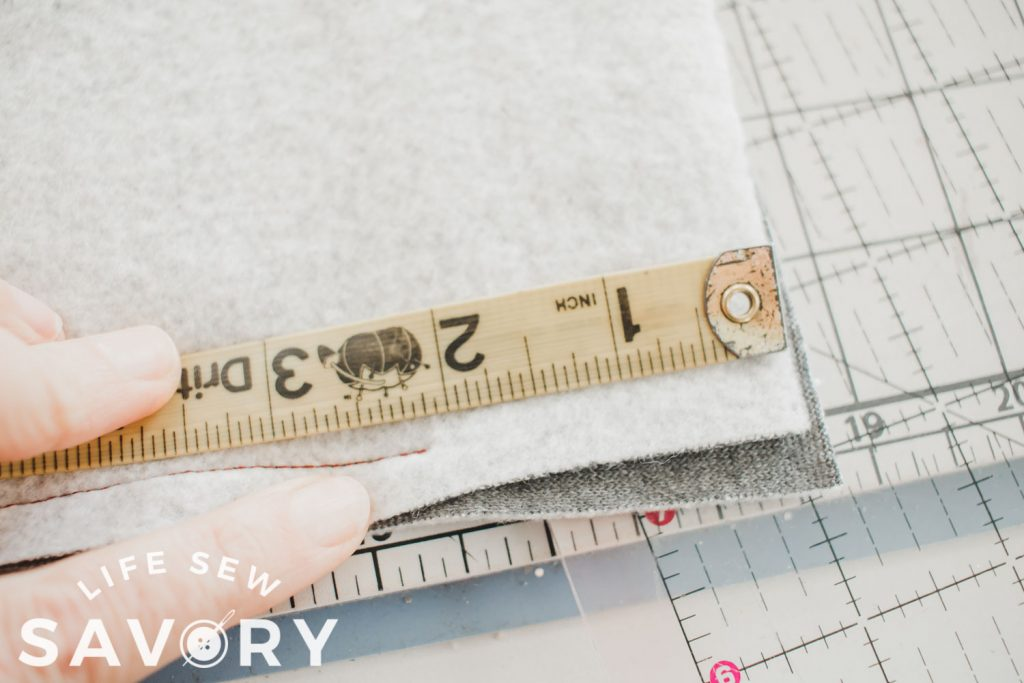 """measure and sew 2"""" down"""