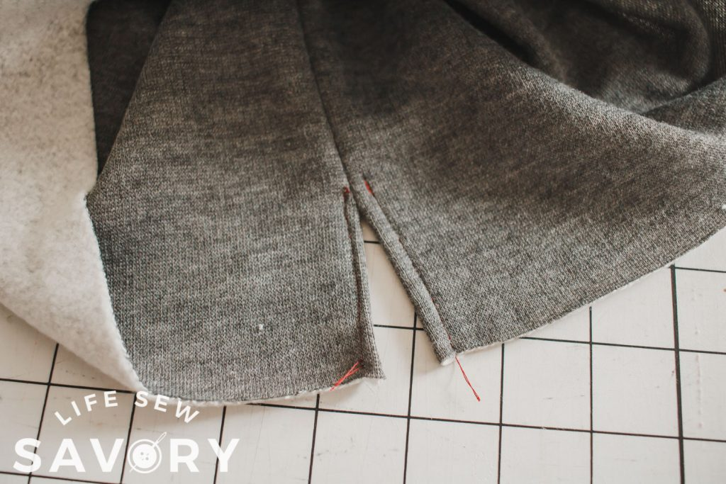 fold seam allowance under and sew