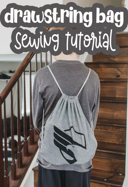 beginner sewing tutorial drawstring bag