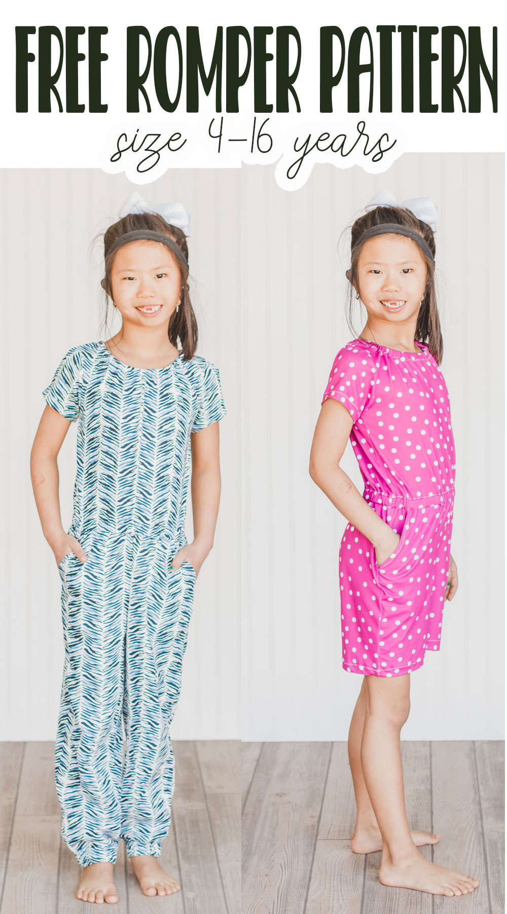 free pdf pattern for kids romper pattern in two lengths