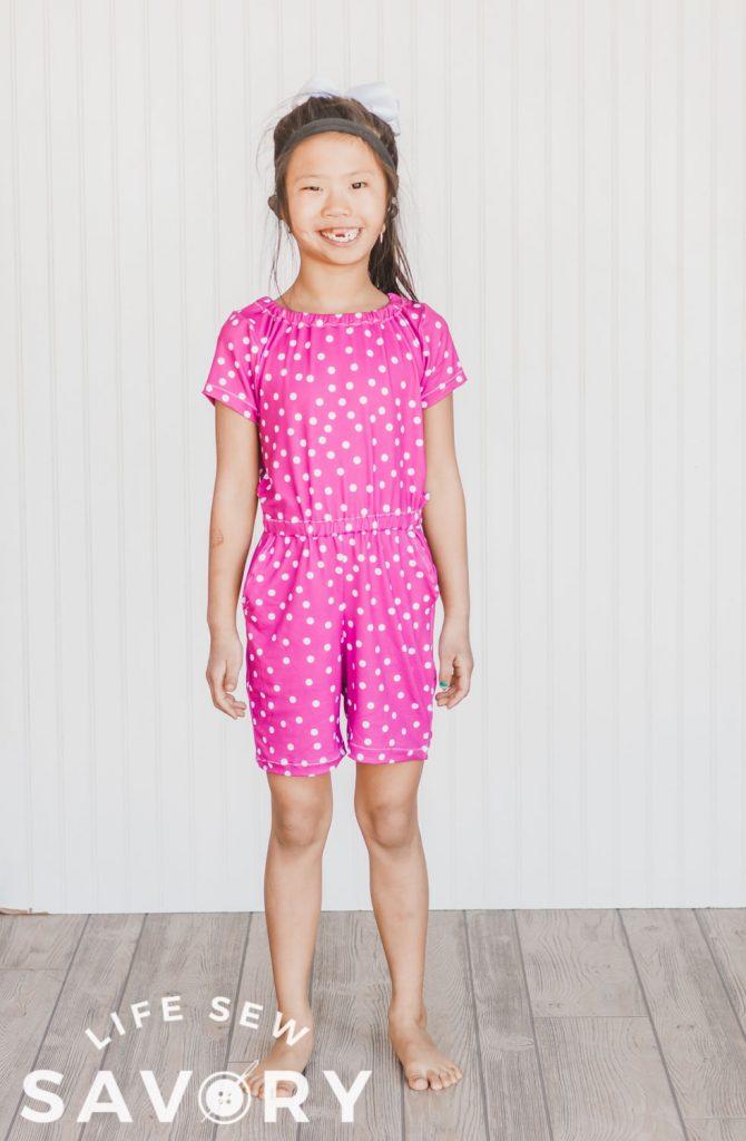 girls romper pattern in shorts