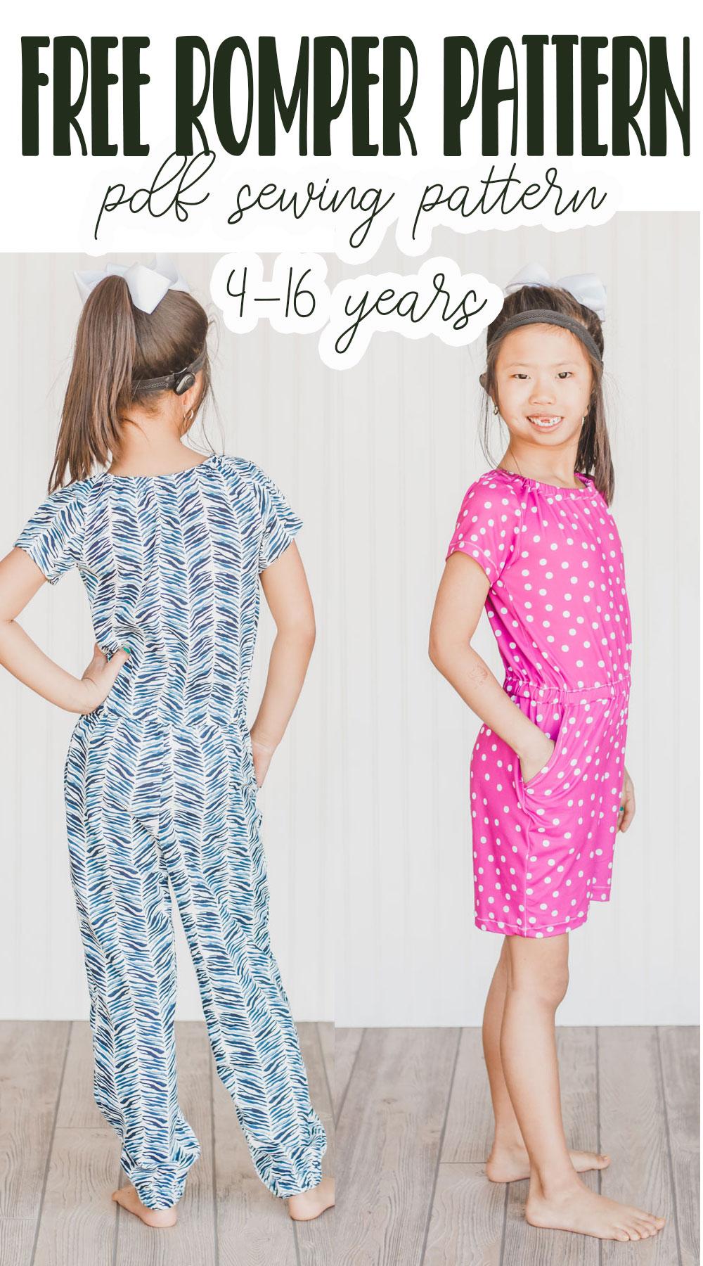 sew a girls romper with a free pdf pattern