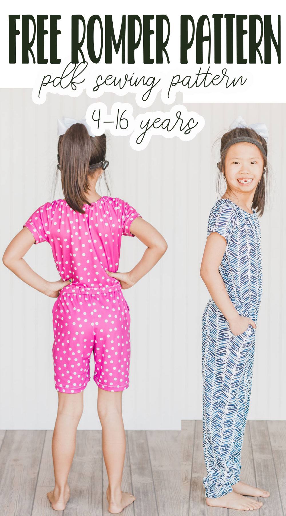 girls romper free sewing pattern and tutorial