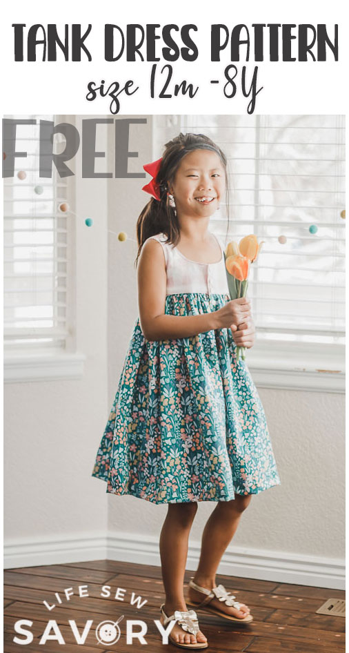 Sew this tank dress pattern with this free pdf sewing pattern and tutorial. Free pattern for woven fabric to create a fun tank dress with button closure.
