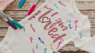baby shower guest book onesie