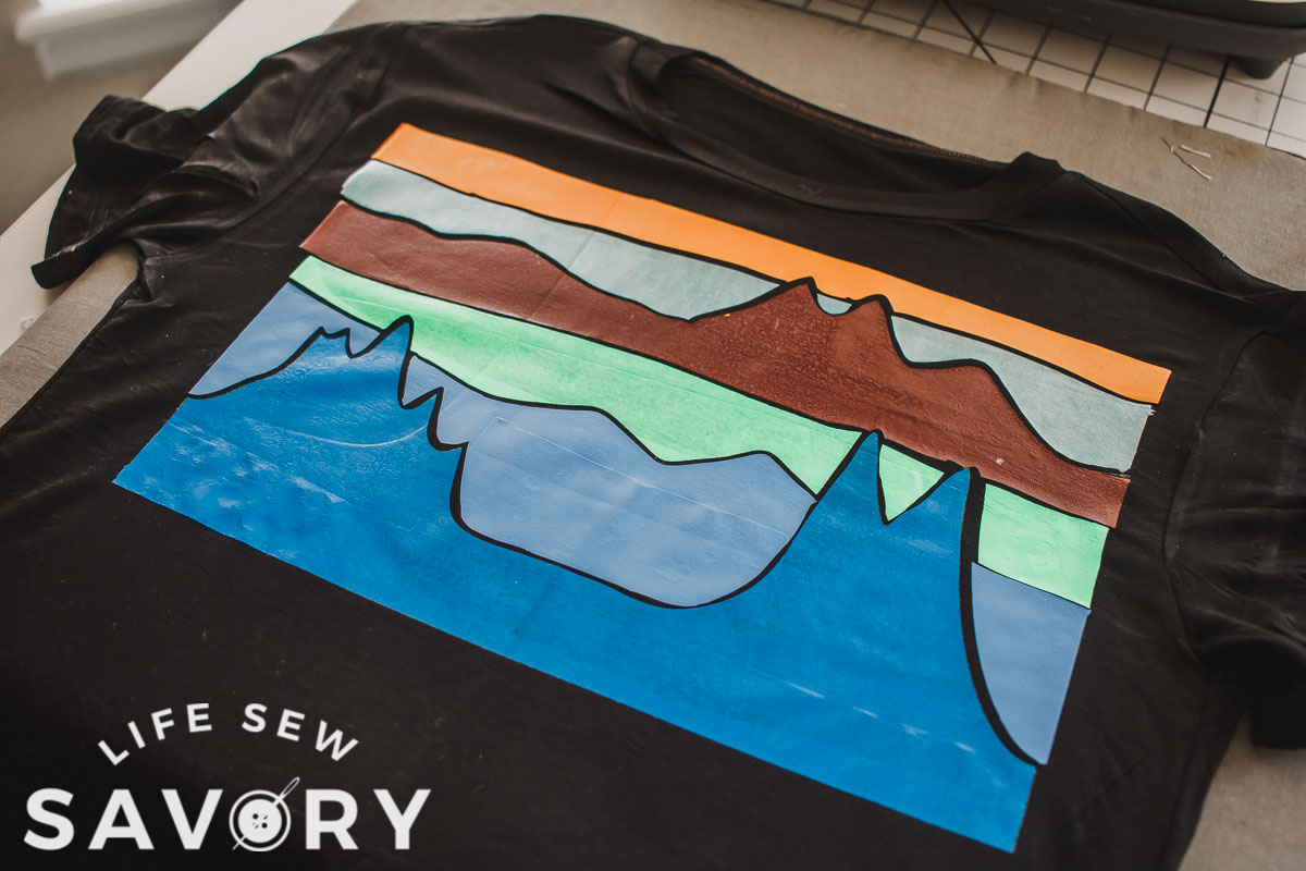 finished mountain view shirt with free svg file