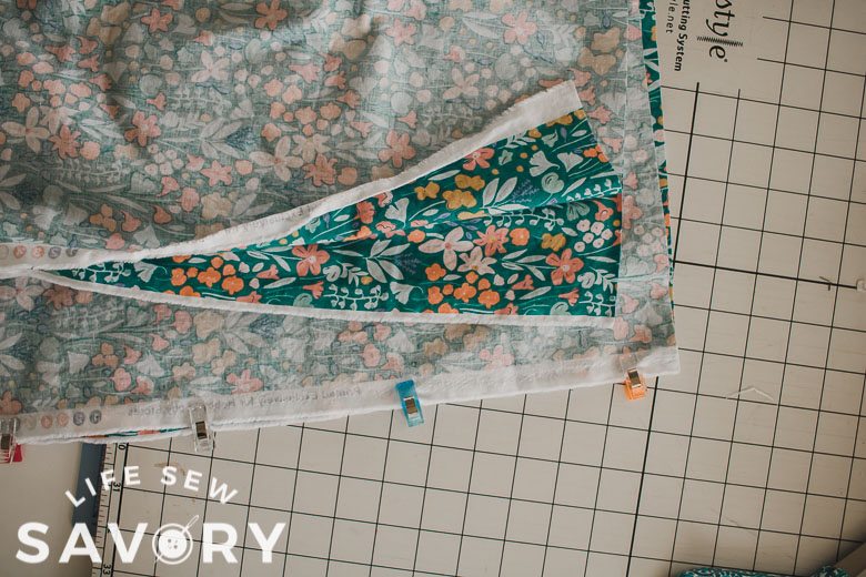 widths of fabric sew one side together