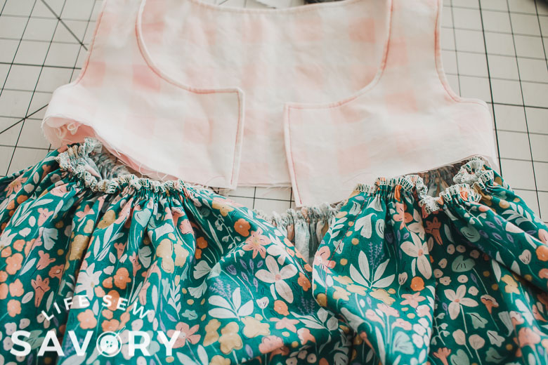 gather skirt to match the width of the tank top