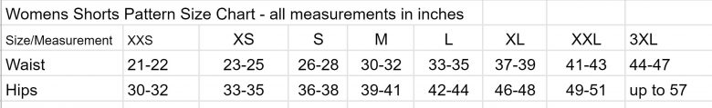 shorts size chart
