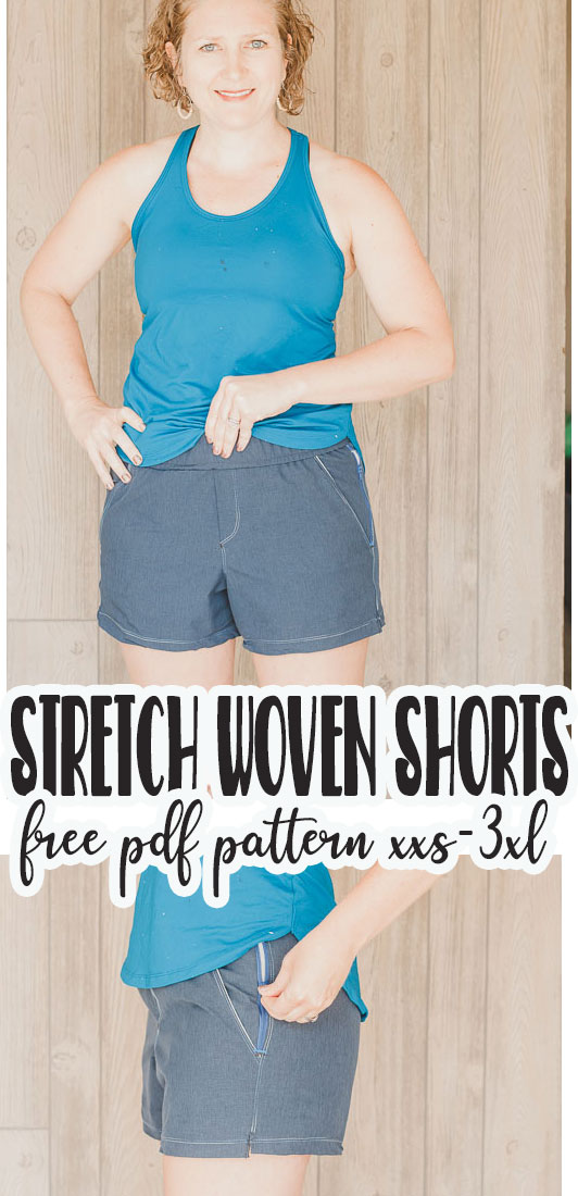 stretch woven free shorts pattern and tutorial