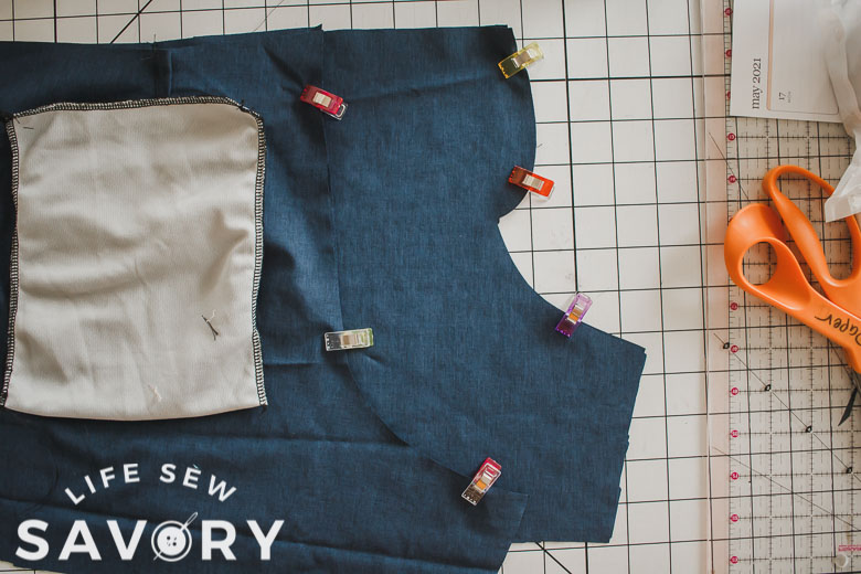 sew front and back curved edge