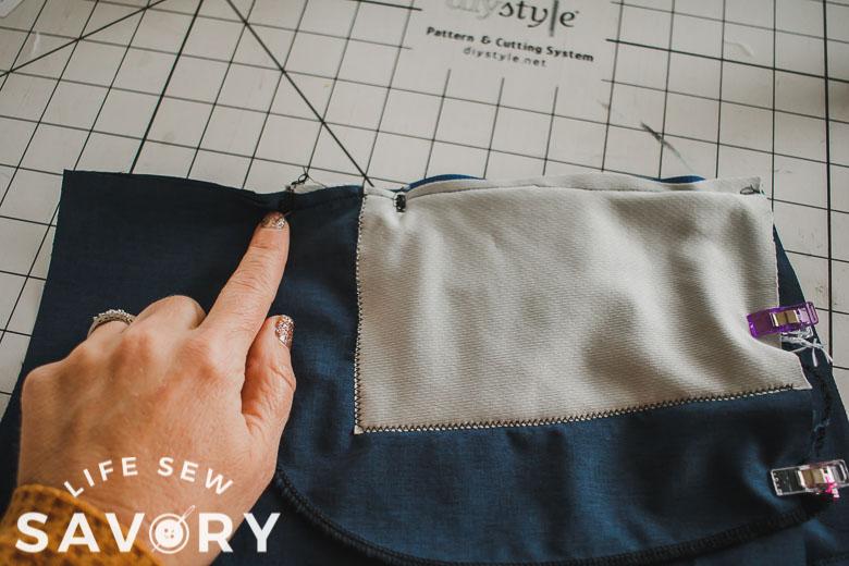 sew side seam to bottom of pocket