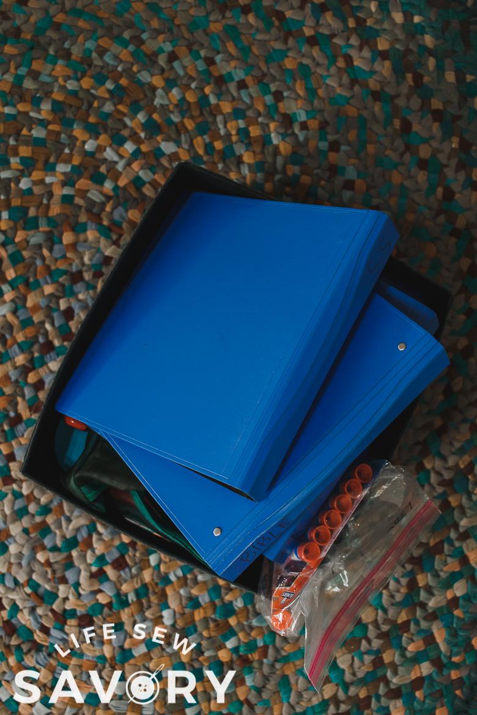 box of school supplies