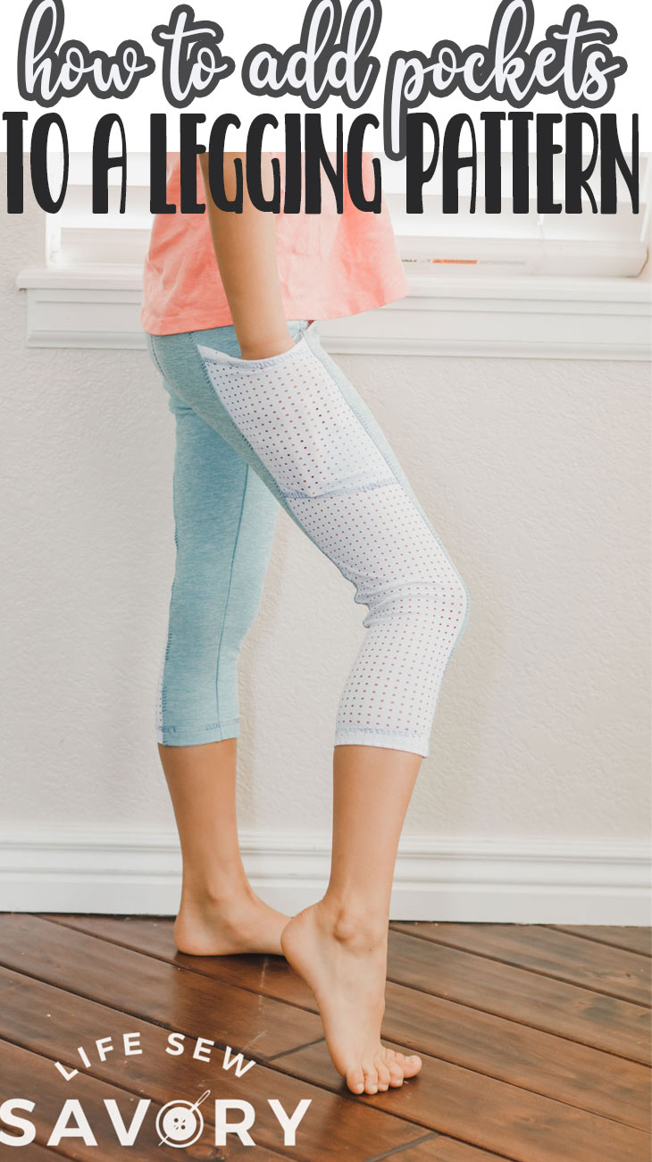 Learn how to add a side pocket to leggings with a simple sewing hack. Create a pocket for your phone or other items on the side of any legging pattern with this sewing hack.
