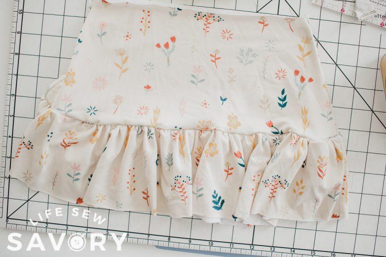 sew ruffle to bottom of skirt
