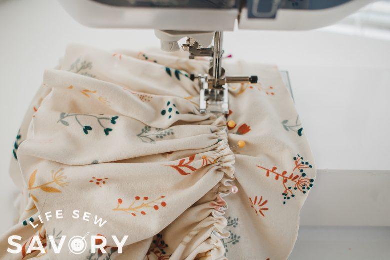sew ruffle to skirt