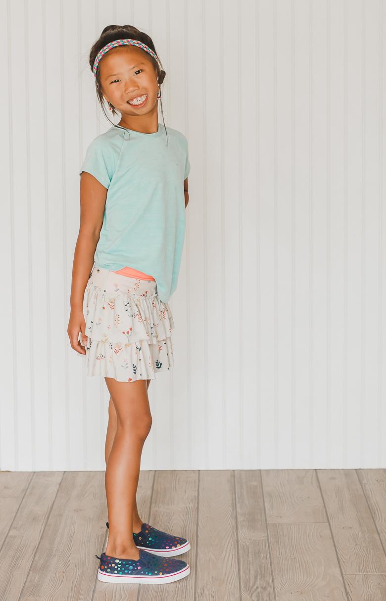 ruffled skirt with shorts