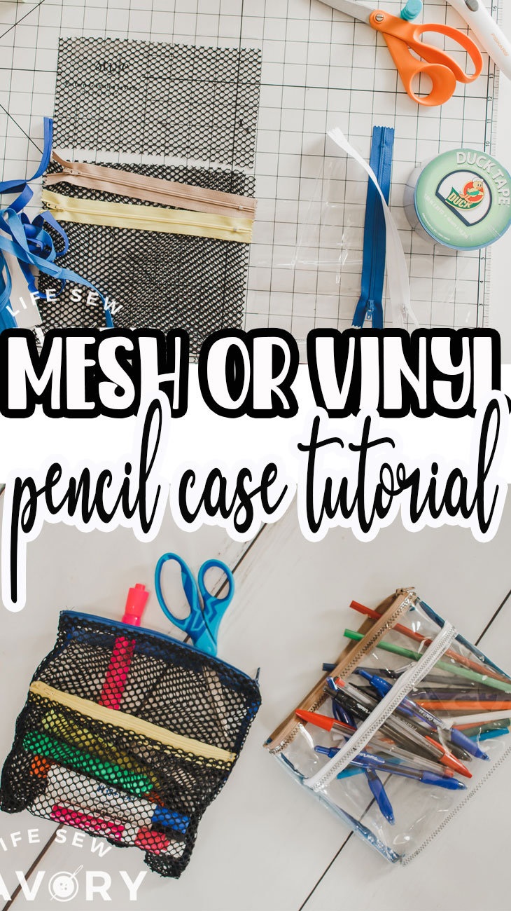 Sew a cute pencil pouch with this sewing tutorial. Make from vinyl or mesh for see through school supplies storage. These mesh and vinyl pencil cases are the best.