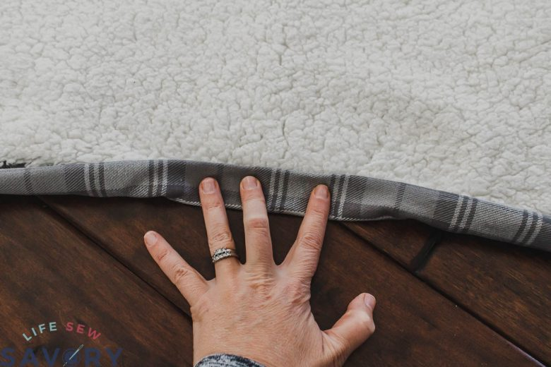 fold over flannel to create a binding