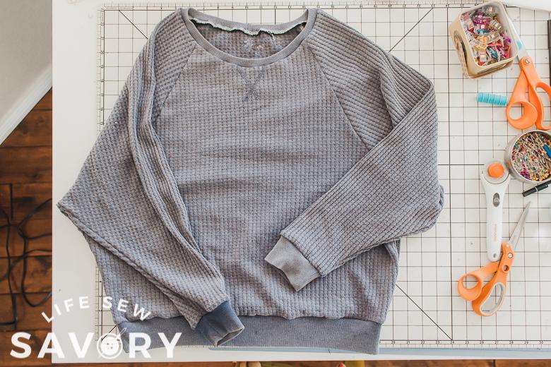 cozy raglan sweatshirt with waffle knit
