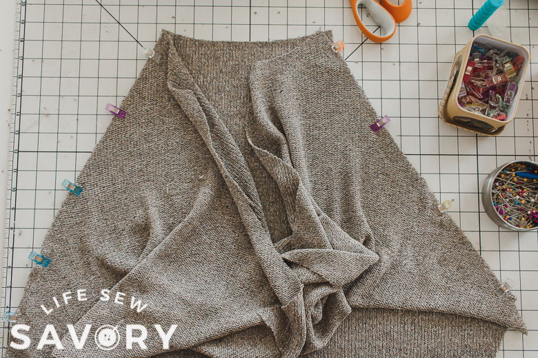sew sleeves to back piece