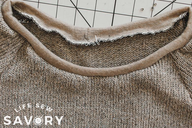 neckband sewn onto sweatshirt