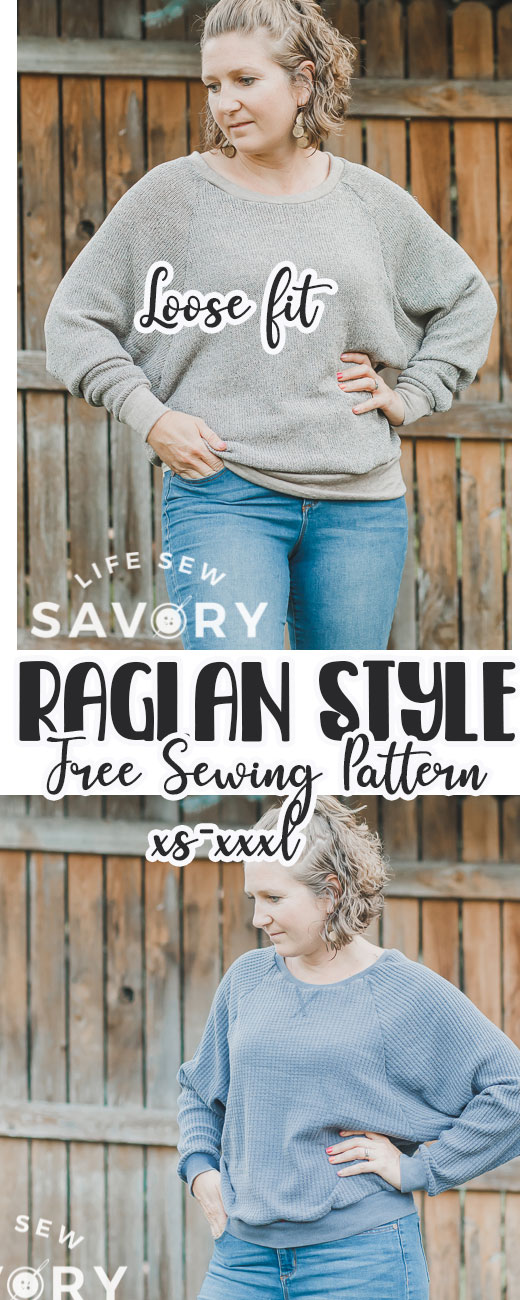Sew a cozy raglan sweatshirt with this free printable pattern and sewing tutorial. Create cozy tops for winter with free sewing patterns and tutorials. This raglan sweatshirt is an amazing top to sew and wear all winter long.