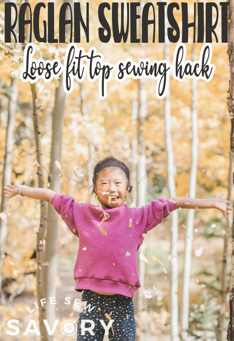 Learn how to sew a loose fit raglan sweatshirt with this sewing tutorial. Use my free raglan shirt pattern to create this cozy raglan sweatshirt with a loose fit.