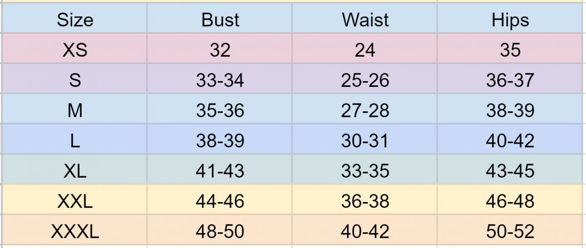 Womens size chart for tops