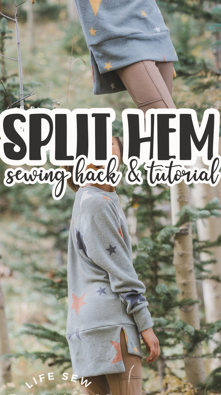 Check out this fun sewing hack to create a split hem shirt. This hem sewing hack is easy to sew and creates a beautiful finish for many top styles.