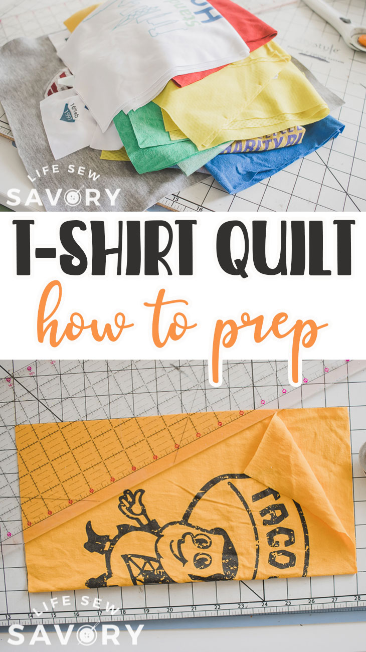 Learn how to cut t-shirts for a tshirt quilt. Cut and prep the pieces of tshirt to get ready to sew a tshirt quilt. All the details you need
