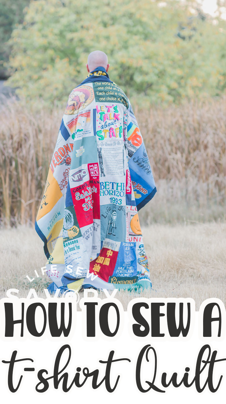 get all the details you need to learn now to sew a t-shirt quilt. How many shirts, how to cut them and how to piece together to create an amazing memory quilt with t-shirts.