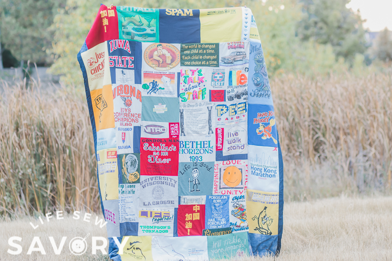 sew t-shirts into a quilt with sewing tutorial